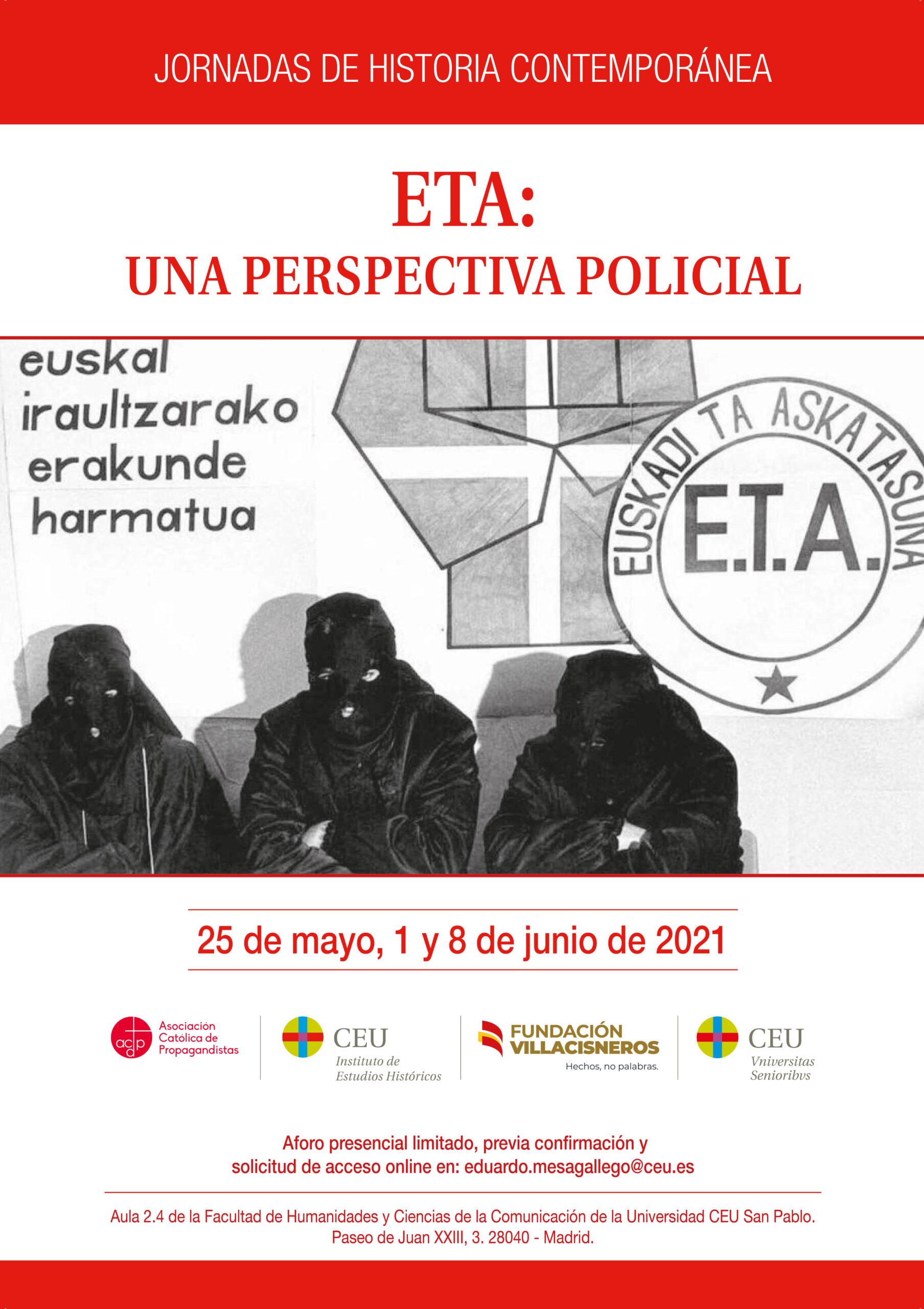 Link para la segunda jornada «ETA: una perspectiva policial» el martes 1 de junio